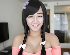 Pretty Asian ladyboy with erect penis fucked in ass