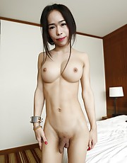 19yo sexy and busty Thai shemale gets a facial from white tourists cock - Ai1