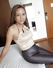 Mond - 23yo Thai ladyboy gets covered in cum from white cock