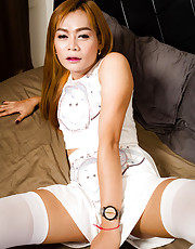 Jass is 29, she is a Bangkok girl. All natural body, a bit shy and very calm. She is versatile and loves bigger guys. She didn't know what to do and how to act at the beginning but then she became less shy and gave a good performance and she got real