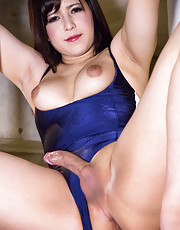 WE ENTER the month of May in blistering fashion with this third dazzling display from Kyoto cutie Mayu. Flaunting her tasty assets in a lycra swimsuit which hugs her curvaceous figure beautifully and barely contains the erect cut of shecock within, Mayu t