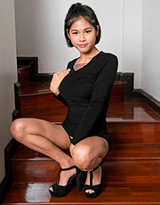 Hot asian tranny Zome plays with her pulsating dong filled with cum on the stairs