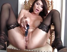 Watch Evalin Fucks Her Tranny Pussy with a Bunch of Pleasure Toys
