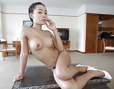 Big-dicked Thai ladyboy has shitter stuffed with white cock