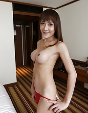 21yo busty Thai ladyboy with a small cock does a striptease - Mos1