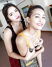 Ice & Samy - Two Thai ladyboys get naked and suck and fuck tourist cock and balls